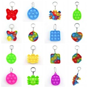 Simple Push Bubble Keychain Kids Novel Fidget keychains Dimple Toys Key Holder Rings Bag Pendants Decompression Rubber Toy
