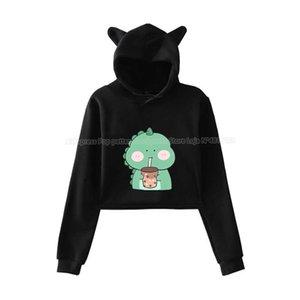 Fashion Ear Pink Animals Boba Tea Hoodies Women Cat Crop Top Pullovers Female Cartoon Sweatshirt Girls Hip Hop Streetwear