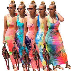 2021 New Women dress Designer fashion U-neck women's long skirt tie dyed back bandage dresses Hot selling 5 colors Casual Ankle-length skirt