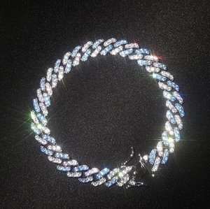 Iced Out Miami Cuban Link Chain Sea Blue Mens Gold Chains Necklace Bracelet Fashion Hip Hop Jewelry 9MM