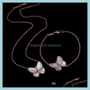 & Sets Jewelry Jewelry White Bearing Butterfly With Diamond Copper Plated Rose Gold Necklace Bracelet Set Drop Delivery 2021 7Cwfr