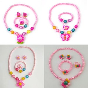 Children Cartoon Imitation Pearl Sun Flower Butterfly Necklace Cute Birthday Toy Jewelry Gift Fashion Girls Plastic Set Earrings &
