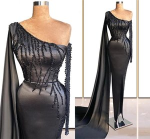 Major Beading Black Evening Dresses 2021 Arabic Aso Ebi One Shoulder Long Sleeve Sheath Prom Party Gowns With Wrap Sexy Split Vestidos De Fiesta Formal Wear AL8893