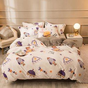 Sheets & Sets Space Plane Cow Milk Cartoon Coral Velvet Warm And Comfortable Home Textile Quilt Cover Four-piece Set Sheet