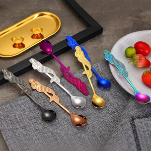 Creative Mermaid Coffee Spoon Curved Stainless Steel Condiment long handle stir spoons kitchen tools
