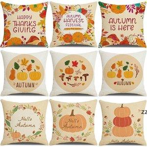 Thanksgiving pumpkin pillow package linen printing sofa home decoration cushion pillows business gift covers pillowcase 45*45CM HWB10539