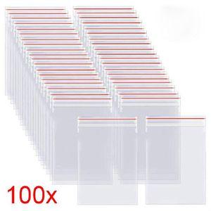 Resealable Zip Lock Bags100pcs pack Self Seal Clear Plastic Poly Bag Food Storage Package Reclosable Vacuum Fresh