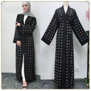 Casual Dresses Kaftan Lace-Up Kimono Long Robe Vintage Splice Outwear Jubah Islamic Clothing Turkish Party Muslim Open Abaya Dubai Women