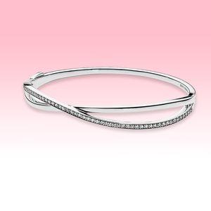 925 Ayar Gümüş Düğün Bilezik CZ Pırlanta Kadınlar Takı Pandora için Enthwined Bileklik Bileklik Orijinal DFF0486