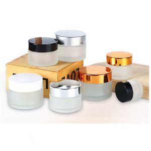 5G 10G стеклянная банка кремовые бутылки косметический пустой контейнер с черной серебряной золотой крышкой и внутренней площадкой для лосьонного бальзама для губ