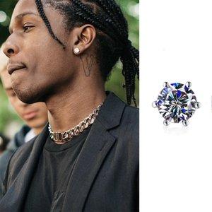 Hip hop ASAP rocky Wu Yifan's six claw Diamond Earrings