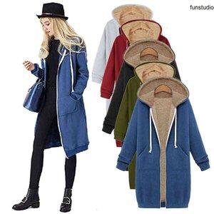 Oversized Hoodie Women's Sleeve Sweatshirt Zipper Open Hooded Fleece Long Coat Jacket Tops Outwear Zip Up Hoodies Girls