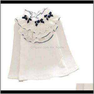 Shirts Cute Girls White Blouse Spring Autumn Cotton Longsleeve Lace Bow Tops Fashion Baby Child Clothes Big Girl School Shirt 210305 6 Ocj59