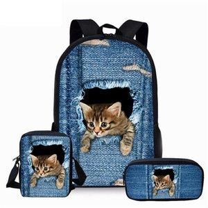 3 pçs / conjunto bonito gato denim 3d impressão escolar sacos para crianças schoolbags primários meninas meninos mochila grande livro satchel