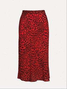 Femininas Saias BBWM Mulher Francês Estilo Pequeno Daisy Coração Leopardo Imprimir Trompete De Seda Vintage Chic Mulheres Verão Casual Cintura Slim