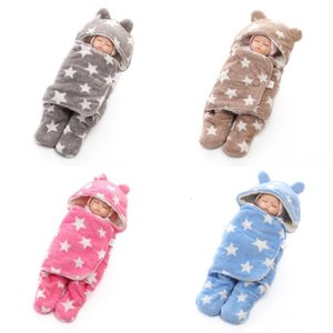 Baby Star Sleeping Bag Cartoon Cocoon Swaddle Thicken Warm Coral Fleece Material Suit Boys Girls Autumn Winter Use