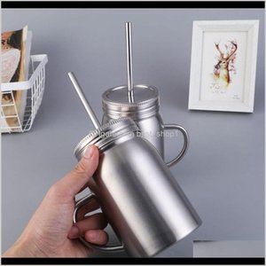 Bottles Water Jar Juice Mug Milk Bottle 500Ml 17Oz Double Wall Insulated Vacuum 188 Stainless Cup Tumbler Optional Handle Steel Idp4A Aqjpc