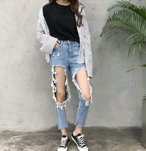 Knee Hole Ripped Cool Skinny Pencil Pant Girl Sexy Denim Jeans Female Destroy Trousers Mujer Large Plus size S-XL Women BF Style1
