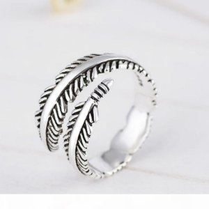 Vintage Feather Open Ring Women Girl Feather Silver Ring Fashion Jewelry Accessories for Gift Party Wholesale Price