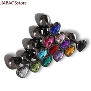 Black Anal Plug Stainless Smooth Metal Heart Shaped Stone Base Butt Anal Dilatator X0401