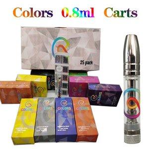 Colors Ceramic Vape Cartridges Empty Vapes Pen Atomizer 510 Thread Cartridge E-Cigarettes Vaping Carts 0.8ML Thick Oil Vaporizer Pens Silver Drip Tip