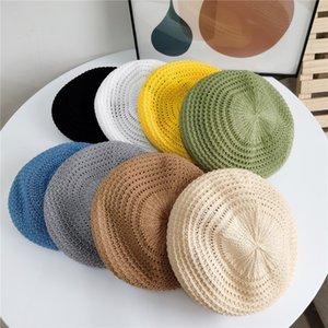 Mulheres tricotadas Berets verão seção fina chapéu gorro moda retro capítono octogonal chapéu macio beret tversatile artista tampões yl626