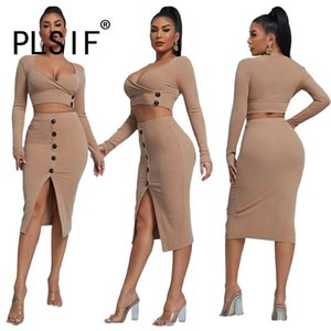Work Dresses Khaki U Neck Long Sleeve Corp Top And Dress Sexy Tight Club Party Lady Fashion Women Tracksuits
