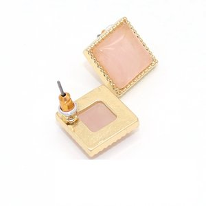 Fashion Gold Color Square stud earrings Natural Stone purple pink Crystal Stud Earrings Jewelry For Women