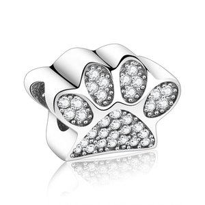 925 Sterling Silver Toy Dog Print Bear Paw Zircon Stone Beads Fit Original Pandora Charm Bracelet For Making Berloque DIY