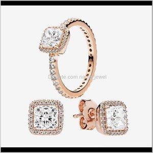 Boucle d'oreille pour anneau de mariage authentique 925 Sier bijoux pour designer Square CZ Diamond élégant bagues boucles d'oreilles avec boîte originale Bynb lbthz