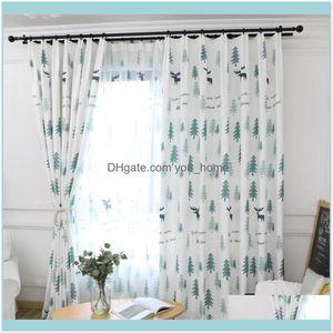 Deco El Supplies Home Gardenblue Fashion Christmas Deer Custom Blackout Curtain Grey Panel Window Curtains Living Room Bedroom Shading Luxur
