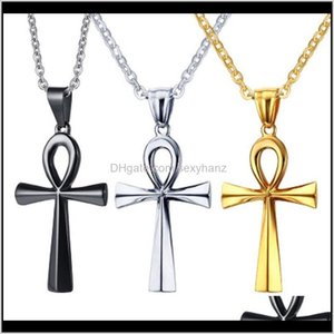 & Pendants Drop Delivery 2021 Ankh Cross Pendant Necklace Stainless Steel For Women Men Hip Hop Charm Necklaces Statement Vintage Prayer Jewe