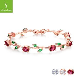 BAMOER Rose Gold Color Leaf Chain & Link Bracelet with Red + Green AAA Zircon for Mother Gifts Jewelry JIB072 2012 Q2