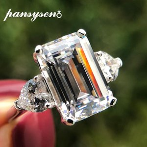 Cluster Rings PANSYSEN Exquisite Real 925 Sterling Silver 7ct Created Moissanite Citrine For Women Fashion Jewelry Wedding Cocktail Ring