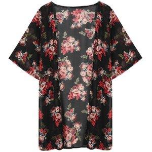 Maternity Tops & Tees Women Summer Vintage Kimono Long Cardigan Chiffon Loose Floral Printed Blouse D7YD