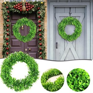 15.7 Inches Silk Wreath Green Leaf Artificial Flower For Front Door Window Room Car Decoration DIY Wedding Garlands Decorative Flowers & Wre