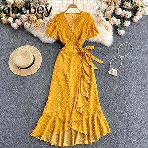 Women Bohemian Dot Korean Short Sleeve V Neck A-line Summer Fashion Irregular Ruffles Print Wrap Long Dress 210415