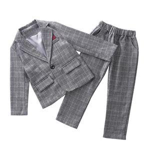 Teenage Lattice Business Girls Suit For Children 2020 Jackets +Pants 2Pcs Tracksuit Outsuits Campus Clothing Sets