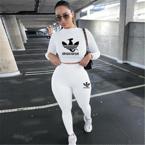 New Brand 2 Piece Sets Women's Sports Fitness Suit Two Piece Long Sleeve Crop Top T-Shirt Leggings Pants Gym Suit 2021 Spring