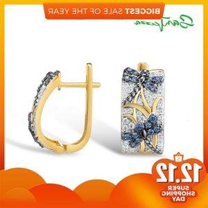 SANTUZZA Earrings For Women Pure 925 Sterling Silver Blue Dragonfly Elegant Trendy Gift Party Fine Jewelry J1202