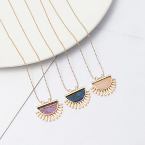 Exquisite Handmade semicircle purple Pink Crystal Stone Polishing Metal Druzy Natural stone Rose Quartz Necklaces