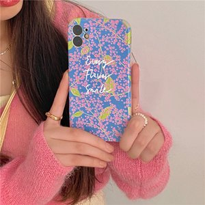 Mobile Phone Shell English Fresh Pink Small Floral Suitable For IP11pro max 12mini Huawei P40 Mate40pro Soft Shell Protective Cover