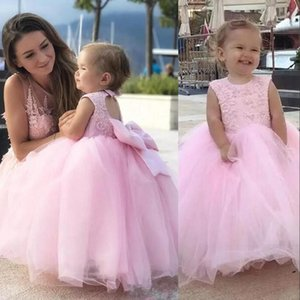 Cute Lovely Pink Mother And Daughter Girls Pageant Dresses Jewel Neck Sleeveless Lace Appliques Beads Tulle Bow Kids Flower Girl Dress Birthday Gowns