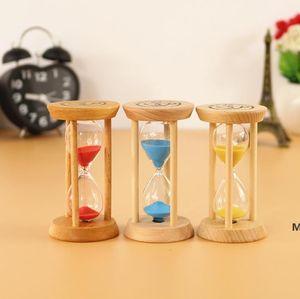 Ferramentas de cozinha 3 mins moldura de madeira Sandglass areia ampulheta de vidro contagem contagem para baixo casa cozinhas relógio relógio DHF6022