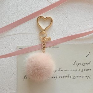 Elegant Round Ball Keychain Of Real Women Girl Cute Pompom Key Chain Bag Charms Keyring Party Gift With Heart Keychains