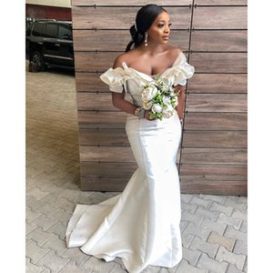 Ivory Sexy Mermaid Bridesmaid Dresses 2021 African Black Girl Off Shoulder Long Wedding Party Dress vestido de fiesta de boda