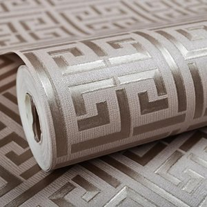 Contemporary Modern Geometric Wallpaper Neutral Greek Key Design PVC Wall Paper for Bedroom 0.53m x 10m Roll Gold on White ZHL1552