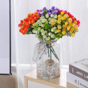Home Decoration Plastic Small Roses Artificial Flowers Bouquet Wedding Decor Fake Drop Decorative & Wreaths