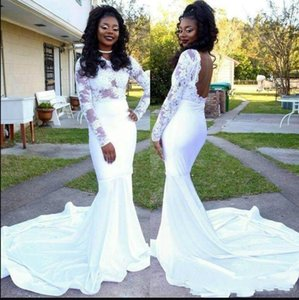 2021 White Lace Prom Dresses Mermaid Long Sleeves Sexy Backless Illusion Formal Evening Gowns Big Train Satin 2K17 Party Dress 18