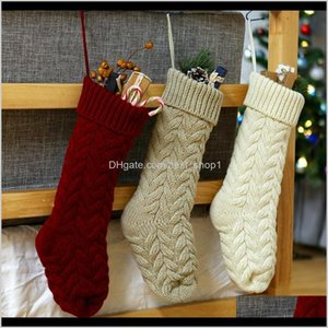 Decorations Personalized Knit Stocking Creative Home Party Christmas Tree Hanging Decor Halloween Candy Gift Storage Bag Tta1796 Msihj Pdbz5